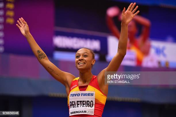 Spain's Ana Peleteiro celebrates taking bronze in the women's triple jump final at the 2018 IAAF World Indoor Athletics Championships at the Arena in...