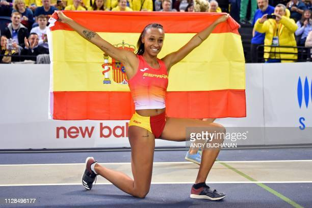 Spain's Ana Peleteiro celebrates with the Spanish flag after winning the womens triple jump final at the 2019 European Athletics Indoor Championships...