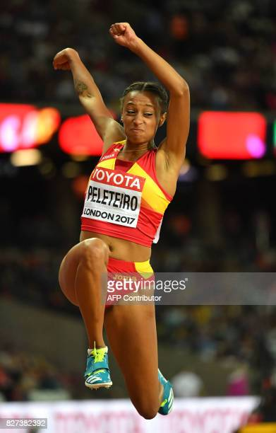 Spain's Ana Peleteiro competes in the final of the women's triple jump athletics event at the 2017 IAAF World Championships at the London Stadium in...