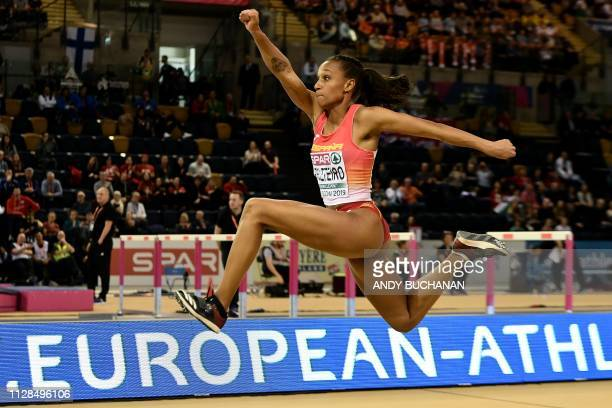Spain's Ana Peleteiro competes in the womens triple jump final at the 2019 European Athletics Indoor Championships in Glasgow on March 3 2019