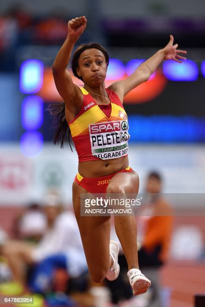 Spain's Ana Peleteiro competes in the women's triple jump final at the 2017 European Athletics Indoor Championships in Belgrade on March 4 2017 / AFP...