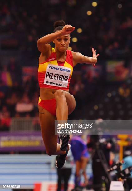 Spain's Ana Peleteiro competes in the women's triple jump final at the 2018 IAAF World Indoor Athletics Championships at the Arena in Birmingham on...