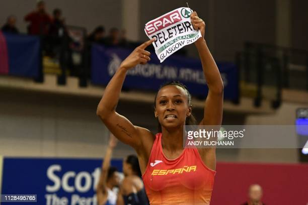 Spain's Ana Peleteiro reacts by tearing off her name label after winning the womens triple jump final at the 2019 European Athletics Indoor...