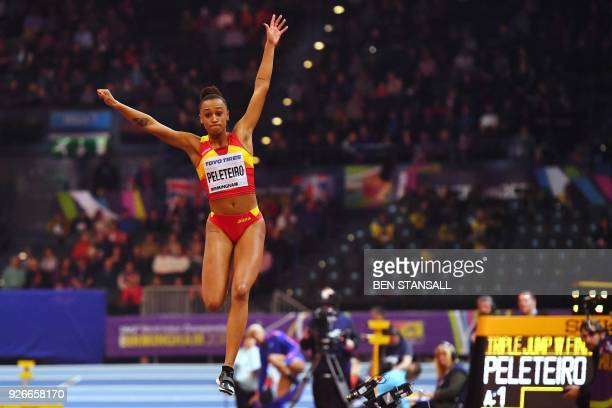 Spain's Ana Peleteiro takes bronze in the women's triple jump final at the 2018 IAAF World Indoor Athletics Championships at the Arena in Birmingham...