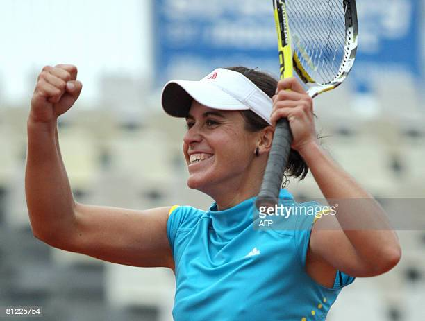 Spain's Anabel Medina Garrigues jubilates after her victory in the Strasbourg's international tournament tennis final match against Slovenian's...