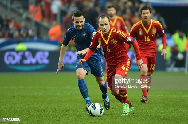 Spain,s Andres Iniesta during the FIFA 2014 World Cup qualifying round group I soccer match, France Vs Spain at Stade de France in Saint-Denis suburb...