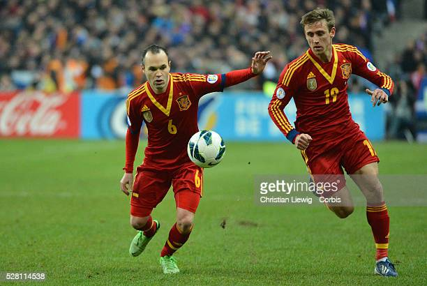 Spains Andres Iniesta during the FIFA 2014 World Cup qualifying round group I soccer match France Vs Spain at Stade de France in SaintDenis suburb of...