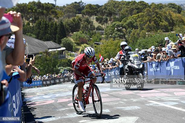 Spain's Angel Vicioso of Team Katusha Alpecin takes part in the Cadel Evans Great Ocean Road Race cycling event in Geelong on January 29 2017 / AFP /...