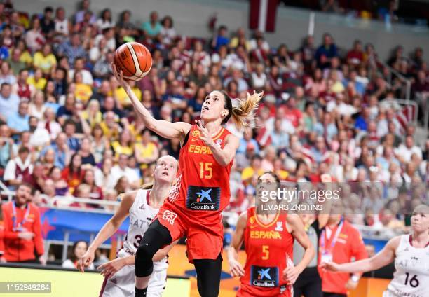 Spain's Anna Cruz attempts to score during Women's Eurobasket 2019 Basketball match in Riga, Latvia, on June 30, 2019.
