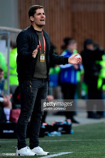 Spain's assistant coach Robert Moreno gives instructions to his players during the UEFA Euro 2020 group F qualifying football match between Faroe...