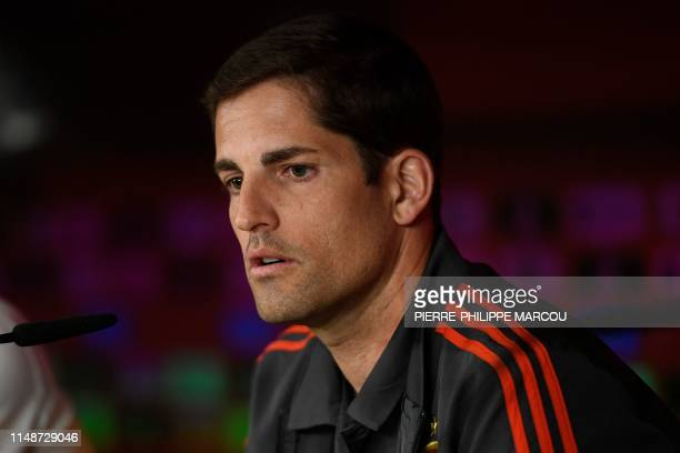 Spain's assistant coach Robert Moreno holds a press conference at the Santiago Bernabeu stadium in Madrid on June 9 2019 on the eve of the UEFA Euro...