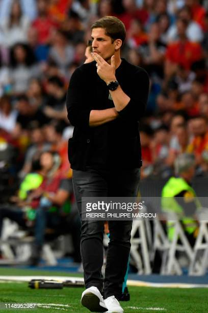 Spain's assistant coach Robert Moreno looks at his players during the UEFA Euro 2020 group F qualifying football match between Spain and Sweden at...