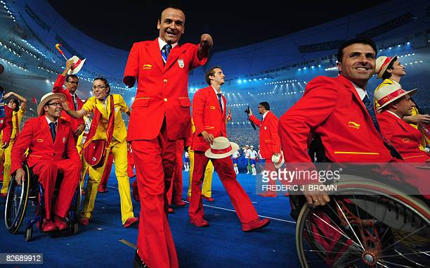 Spain's athletes parade during the opening ceremony for the 2008 Beijing Paralympic Games at the National Stadium also known as the Bird's Nest in...