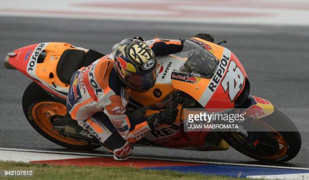 Spain's biker Dani Pedrosa rides his Honda during the MotoGP free practice 4 of the Argentina Grand Prix at Termas de Rio Hondo circuit in Santiago...
