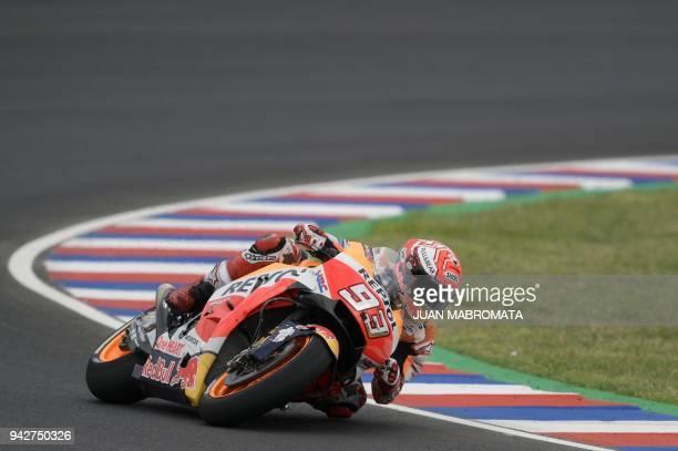 Spain's biker Marc Marquez rides his Honda during a MotoGP free practice of the Argentina Grand Prix at Termas de Rio Hondo circuit in Santiago del...