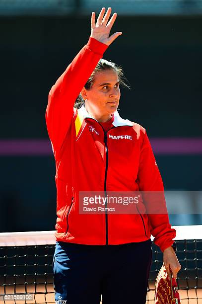 Spain's captain Conchita Martinez waves during day one of the Fed Cup World Group Playoff Round between Spain and Italy on April 16 2016 in Lleida...