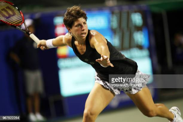 Spain's Carla Suarez Navarro during the second round of the Toray Pan Pacific Open tennis championships in Tokyo on September 21 2016 Wozniacki...