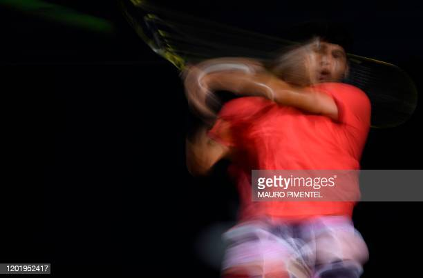 Spain's Carlos Alcaraz hits the ball during the match against Argentina's Federico Coria during the ATP World Tour Rio Open 2020 tournament Jockey...