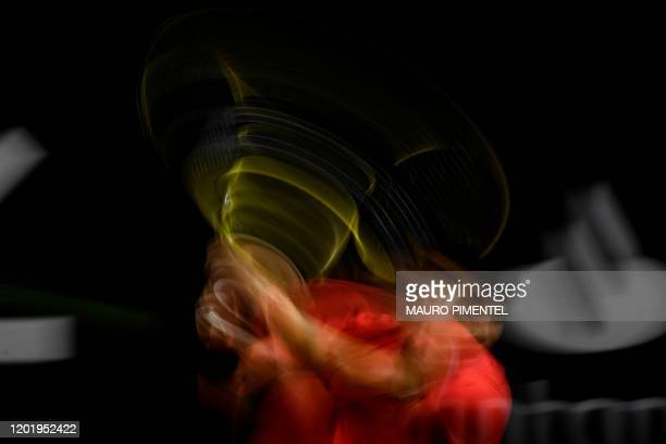 TOPSHOT Spain's Carlos Alcaraz hits the ball during the match against Argentina's Federico Coria during the ATP World Tour Rio Open 2020 tournament...