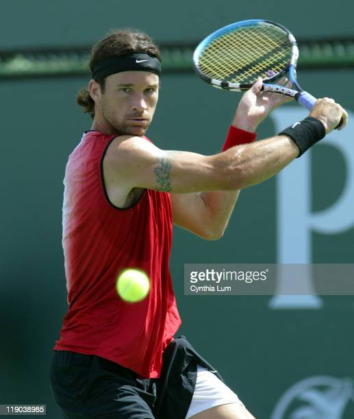 Spain's Carlos Moya defeated Fabrice Santory of Frace in the quarter final at the Pacific Life Open,7-5, 6-2 in the 4th round at Indian Wells,...