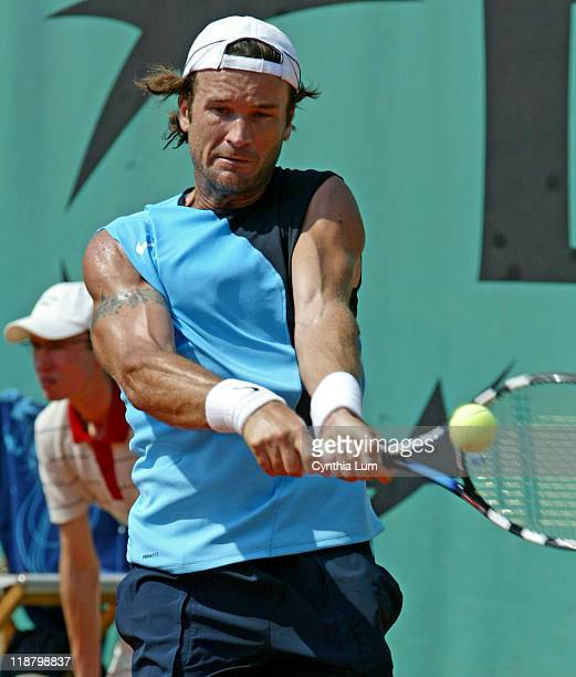 Spain's Carlos Moya, in action, defeating Juan pablo Brzezicki of Argentina, in the third round of the French Open, Roland Garros, Paris, France on...