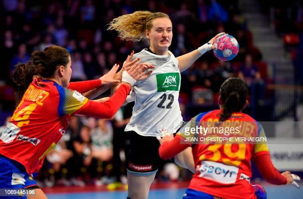 Spain's center back Alicia Fernandez Fraga and Spain's right back Almudena Rodriguez defend against Germany's right back Maren Weigel during the 2018...