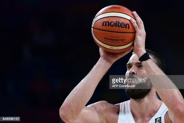 Spain's center Marc Gasol concentrates prior to a free throw during the FIBA Euro basket 2017 men's 3rd game match between Spain and Russia at...