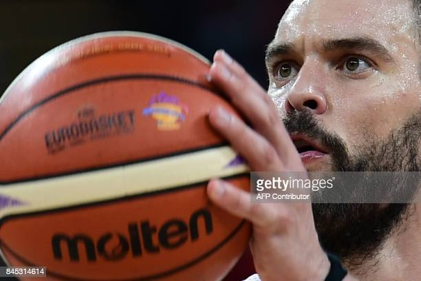 Spain's center Marc Gusol prepares to throw the ball during the FIBA Eurobasket 2017 men's round 16 basketball match between Spain and Turkey at...