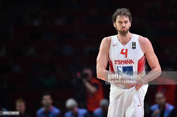 Spain's center Pau Gasol adjusts his jersey during the final basketball match between Spain and Lithuania at the EuroBasket 2015 in Lille northern...