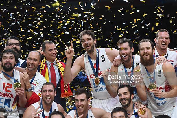 Spain's center Pau Gasol and his teammates celebrate after Spain won the final basketball match between Spain and Lithuania at the EuroBasket 2015 in...