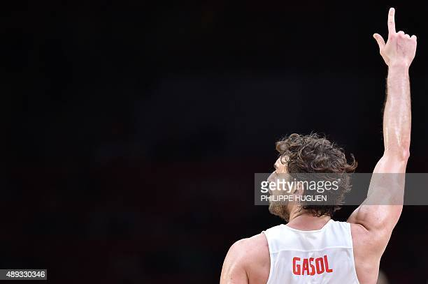 Spain's center Pau Gasol celebrates after Spain defeated Lithuania during the final basketball match between Spain and Lithuania at the EuroBasket...