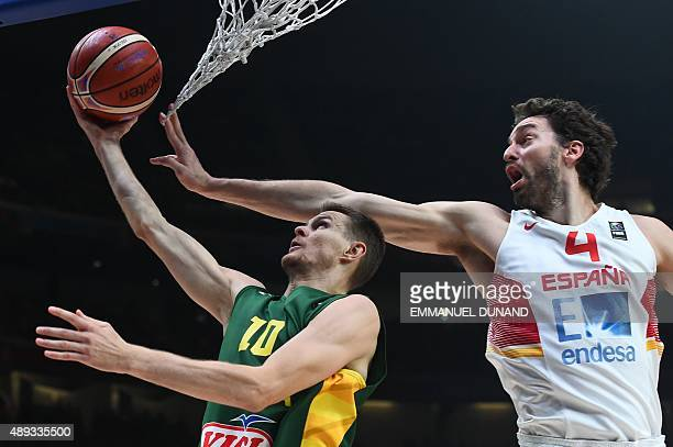 Spain's center Pau Gasol defends against Lithuania's guard Renaldas Seibutis during the final basketball match between Spain and Lithuania at the...