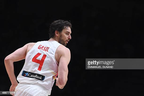 Spain's center Pau Gasol looks on during the semifinal basketball match between Spain and France at the EuroBasket 2015 in Lille northern France on...