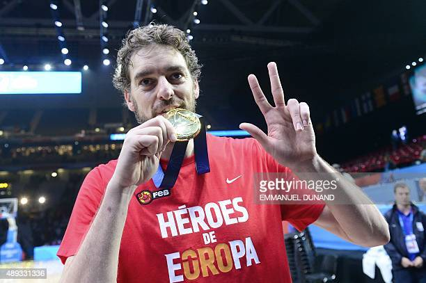Spain's center Pau Gasol poses with his Gold medal after Spain won the final basketball match between Spain and Lithuania at the EuroBasket 2015 in...