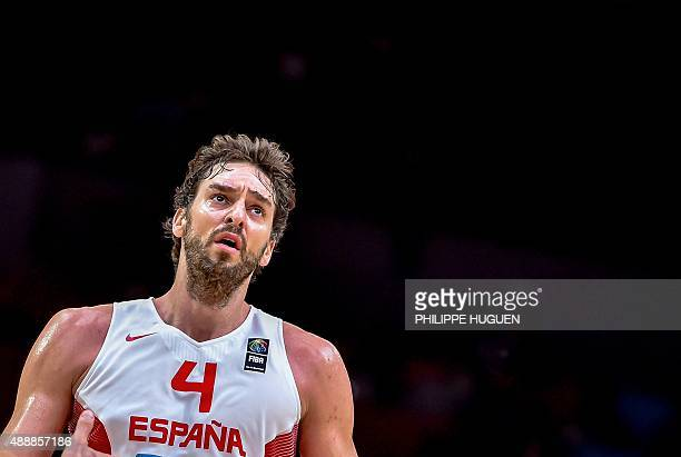 Spain's centre Pau Gasol reacts during the 2015 EuroBasket semifinal basketball match between Spain and France in Lille northern France on September...