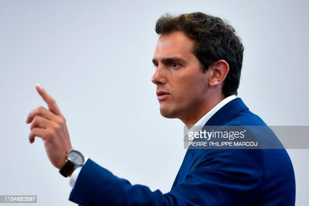 Spain's centreright Ciudadanos party leader Albert Rivera holds a press conference at Las Cortes in Madrid on July 9 2019