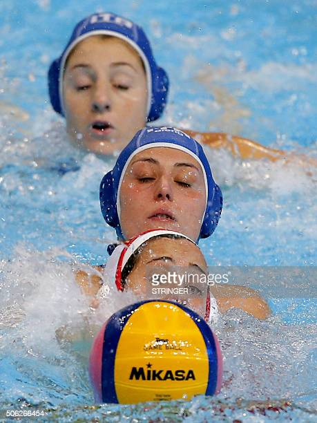 Spain's Clara Espar vies with Italy's Rosaria Aiello during the women's water polo bronze medal match against Spain at the European Water polo...