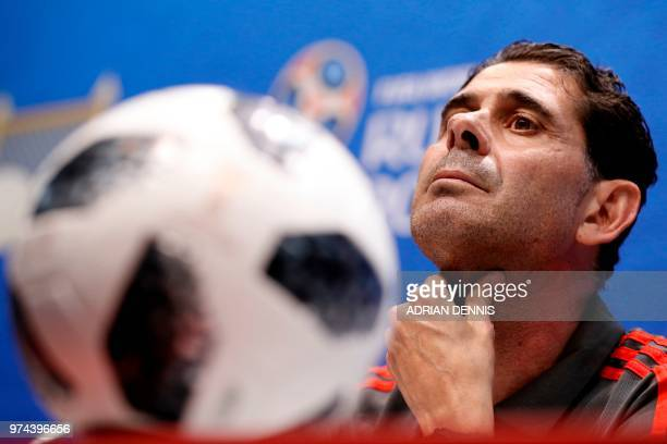 Spain's coach Fernando Hierro attends a press conference at the Fisht Olympic Stadium in Sochi on June 14 on the eve of the Russia 2018 World Cup...