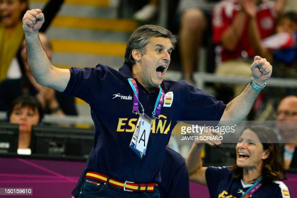 Spain's coach Jorge Duenas de Galarza celebrates at the end of the women's bronze medal handball match South Korea vs Spain for the London 2012...