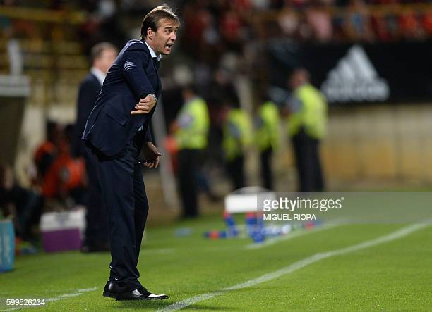 Spain's coach Julen Lopetegui gives instructions to his players during the WC 2018 football qualification match between Spain and Liechtenstein at...