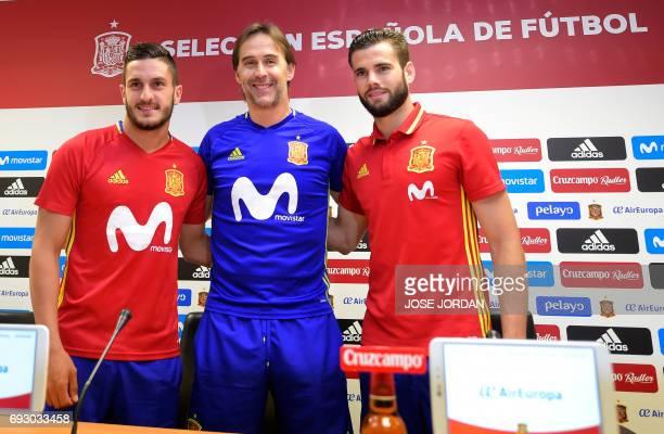 Spain's coach Julen Lopetegui Spain's midfielder Koke and Spain's defender Nacho Fernandez pose during a press conferenc at the New Condomina stadium...