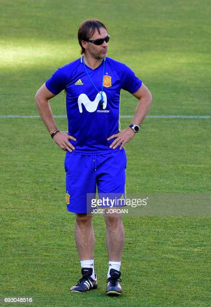 Spain's coach Julen Lopetegui stands during the training session at the New Condomina stadium in Murcia on June 6 2017 on the eve of their friendly...
