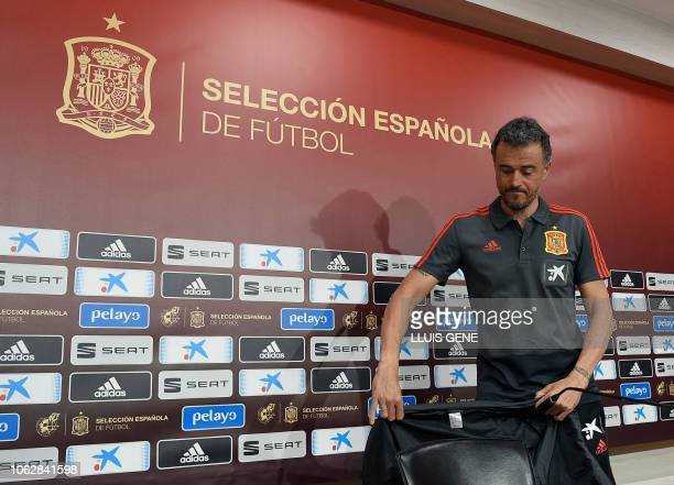Spain's coach Luis Enrique arrives to hold a press conference at the Gran Canaria stadium in Las Palmas on November 17 2018 on the eve of the...