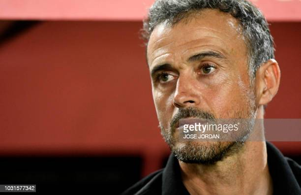 Spain's coach Luis Enrique attends the UEFA Nations League A group 4 football match between Spain and Croatia at the Manuel Martinez Valero stadium...