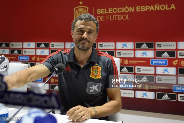 Spain's coach Luis Enrique gives a press conference at the Benito Villamarin stadium in Sevilla on October 14 on the eve of the UEFA Nations League...