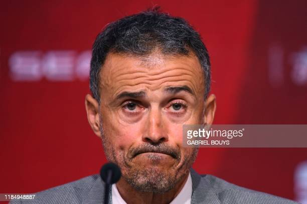 Spain's coach Luis Enrique gives a press conference on November 27, 2019 in Madrid during his official presentation. - Luis Enrique returns as coach...