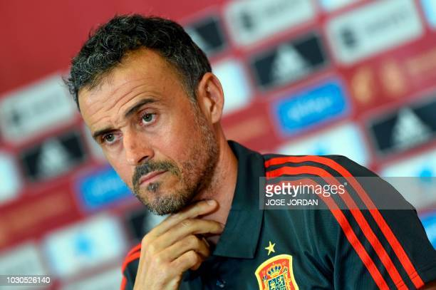 Spain's coach Luis Enrique holds a press conference at the Martinez Valero stadium in Elche on September 10, 2018 on the eve of the UEFA Nations...
