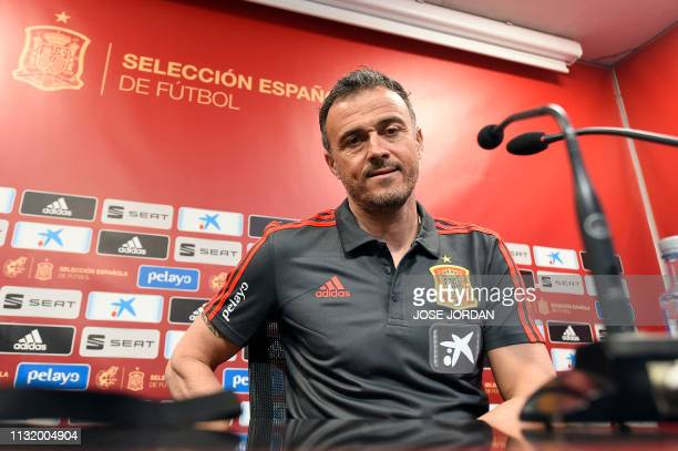 Spain's coach Luis Enrique holds a press conference at the Mestalla stadium in Valencia on March 22 2019 on eve of the Euro 2020 qualifying match...
