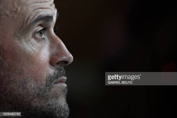 Spain's coach Luis Enrique holds a press conference at the Spanish Football Federation headquarters in Las Rozas northwest of Madrid on August 31...