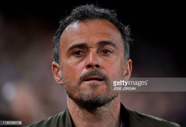 Spain's coach Luis Enrique looks on before the Euro 2020 group F qualifying football match between Spain and Norway at the Mestalla Stadium in...